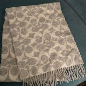 Grey All over Coach Logo scarf